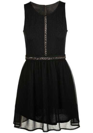 Black Sleeveless Chain Embellished Zipper Chiffon Dress
