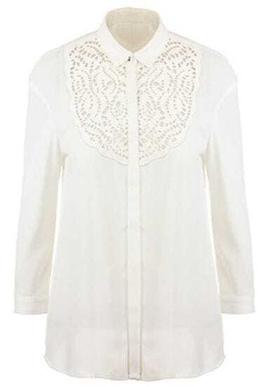 White Lapel Contrast PU Leather Hollow Chiffon Blouse