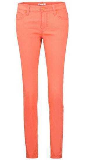 Orange Casual Pockets Slim Crop Pant