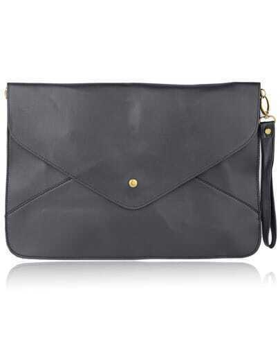 Black Vintage PU Leather Envelope Clutch Bag