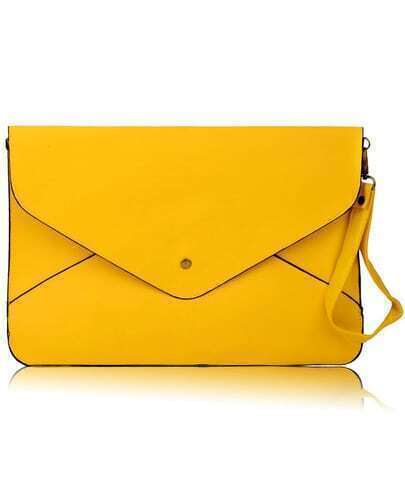 Yellow Vintage PU Leather Envelope Clutch Bag