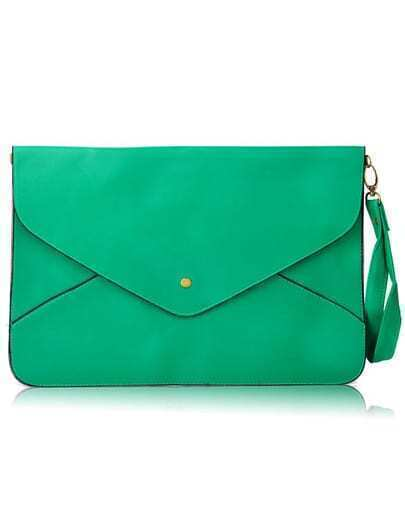 Green Vintage PU Leather Envelope Clutch Bag