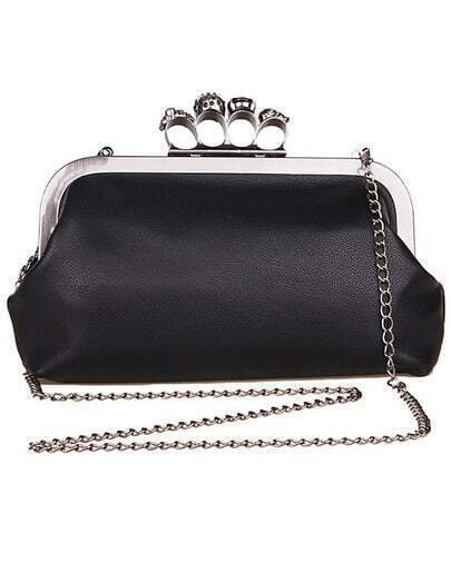 Black Skull Gem Ring Handbag Clutch Purse Crossbody Bag