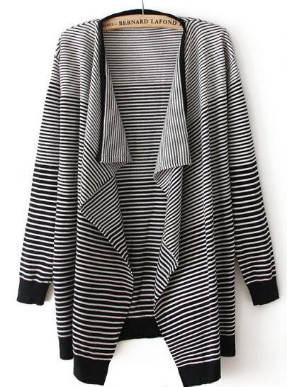 Black Long Sleeve Striped Cardigan Sweater