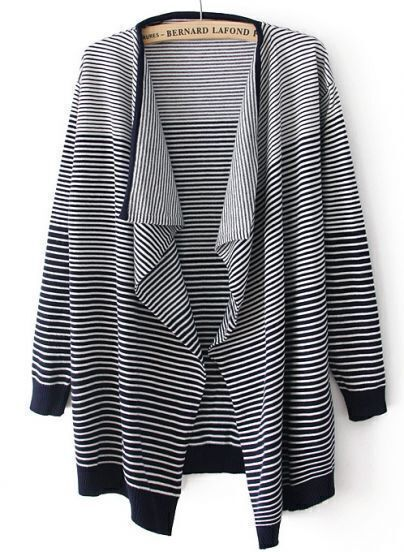 Navy Long Sleeve Striped Cardigan Sweater