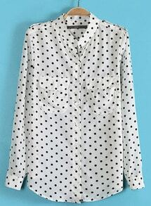 White Long Sleeve Polka Dot Epaulet Blouse