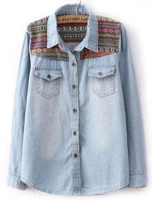 Light Blue Long Sleeve Contrast Embroidery Denim Blouse