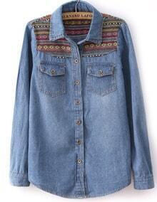 Blue Long Sleeve Contrast Embroidery Denim Blouse