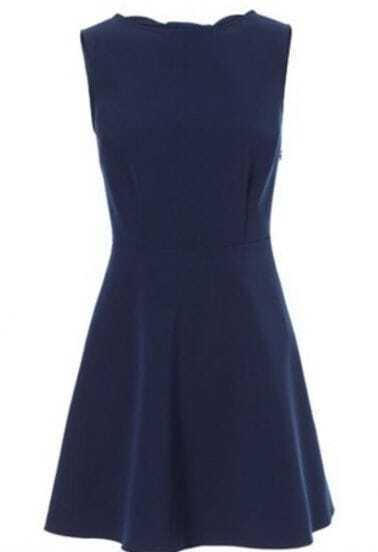 Navy Sleeveless Back Hollow Bow Dress