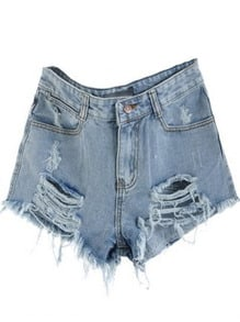 Blue Mid Waist Ripped Denim Short -SheIn(Sheinside)