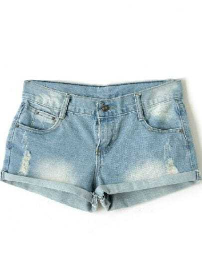 Light Blue Denim Ripped Turn Up Shorts