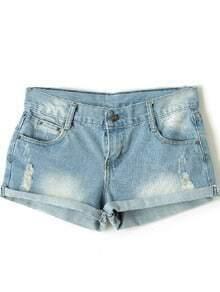 Light Blue Denim Ripped Turn Up Shorts