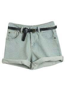 Light Blue Drawstring Waist Vintage Denim Short