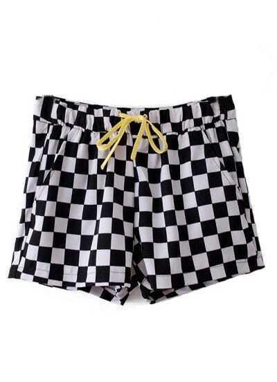 Black White Plaid High Waist Shorts