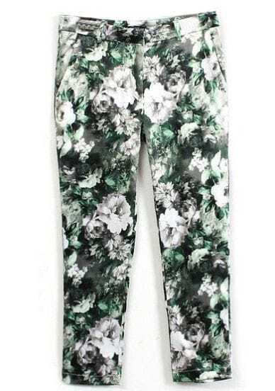 Green Blooming Flowers Print Crop Pant