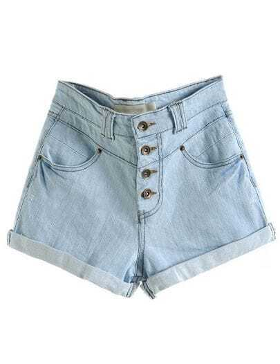 Light Blue High Waist Crimping Bleached Denim Shorts