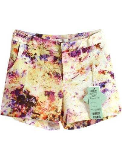 Multi Mid Waist Pockets Floral Shorts