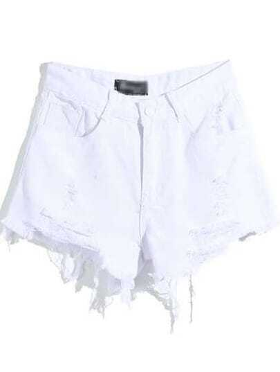 White Pockets Ripped Zipper Denim Shorts