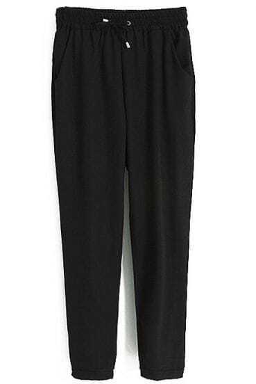 Black Drawstring Elastic Waist Pockets Loose Pant