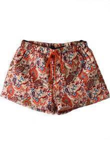 Red Drawstring Waist Floral Pockets Shorts
