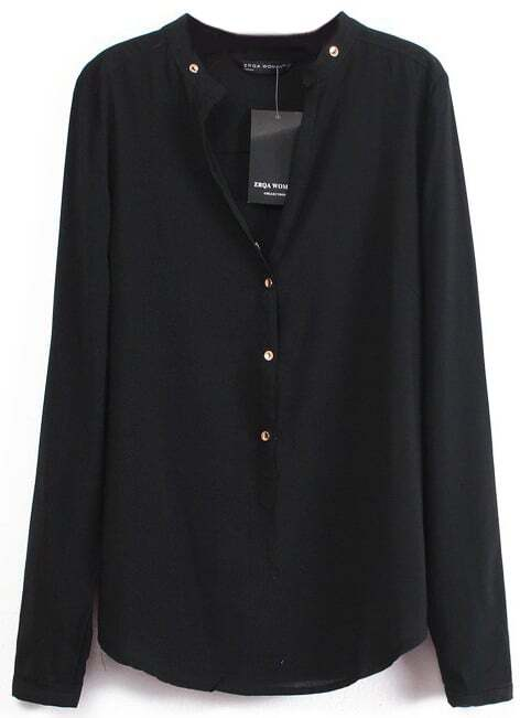 Black V Neck Long Sleeve Buttons Blouse -SheIn(Sheinside)