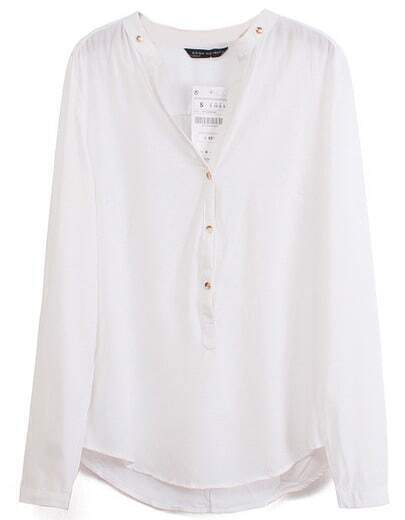 White V Neck Long Sleeve Buttons Blouse