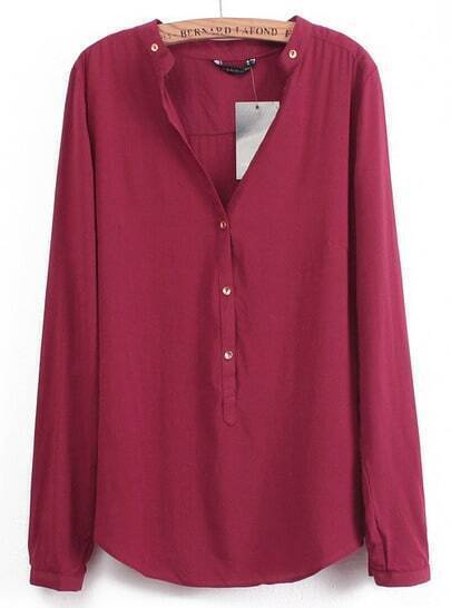 Wine Red V Neck Long Sleeve Buttons Blouse