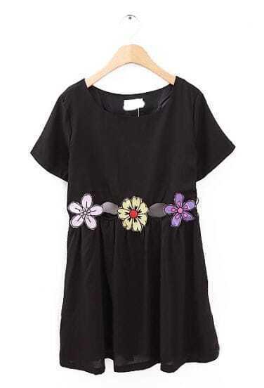 Black Short Sleeve Hollow Sunflower Pattern Dress