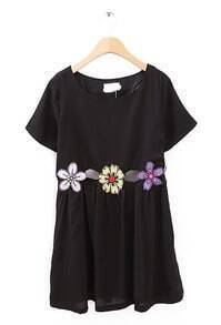 Black Short Sleeve Hollow Sunflower Pattern Dress