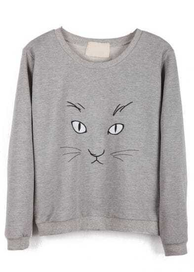 Grey Long Sleeve Cat Print Loose Sweatshirt