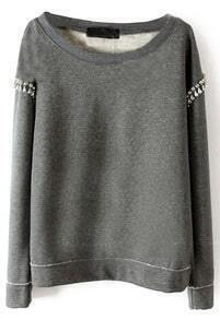 Grey Long Sleeve Rhinestone Pullover Sweatshirt