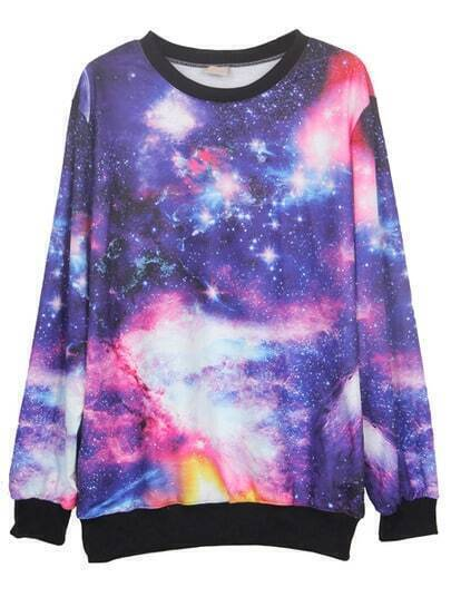 Purple Round Neck Galaxy Print Ribbed Sweateshirt