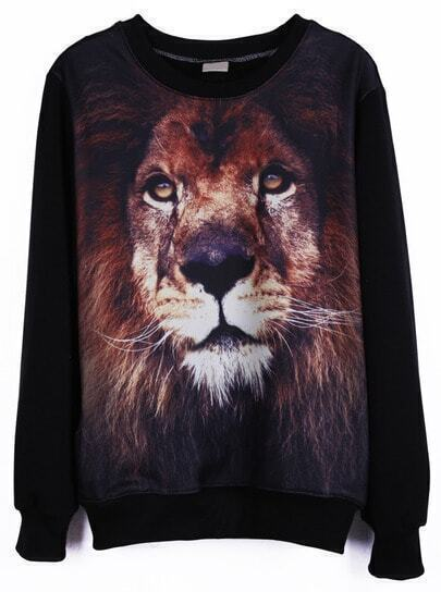 Black Round Neck Long Sleeve Lion Print Sweatshirt