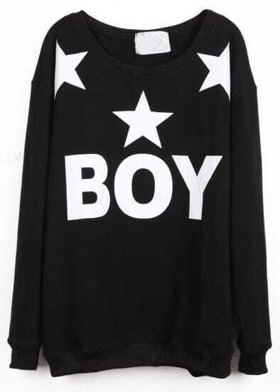Black Long Sleeve BOY Stars Print Sweatshirt
