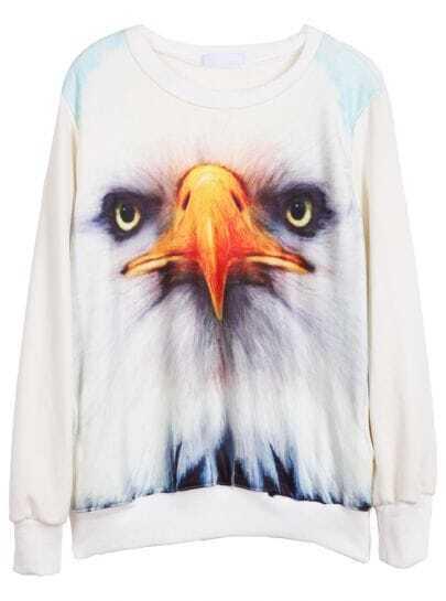 White Long Sleeve Eagle Print Sweatshirt