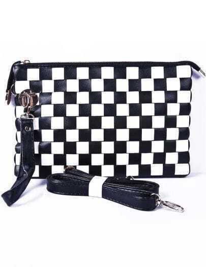 Black White Plaid Checkerboard PU Clutch Bag