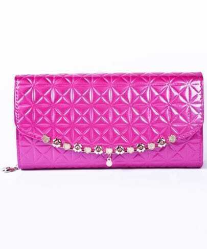 Rose Red Flower Pattern PU Clutch Bag