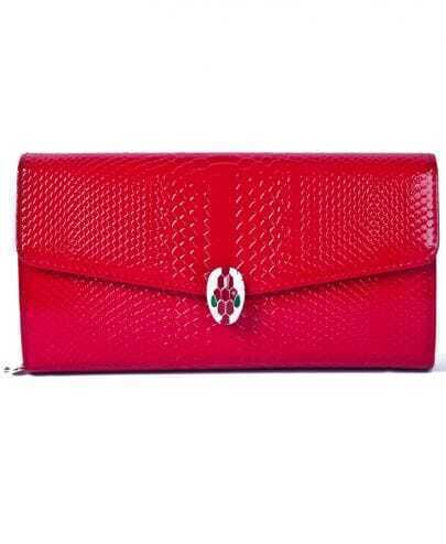 Red Snakeskin Magnetic PU Clutch Bag