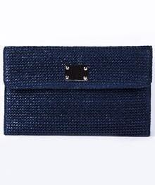Navy Straw Crocodile Pattern Chain Clutch Bag