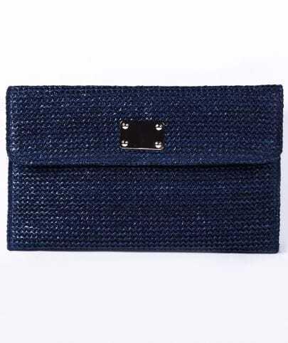 Navy Straw Crocodile Pattern Chain Clutch Bag