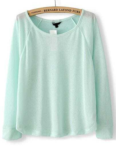 Green Long Sleeve Translucent Pullover Sweater