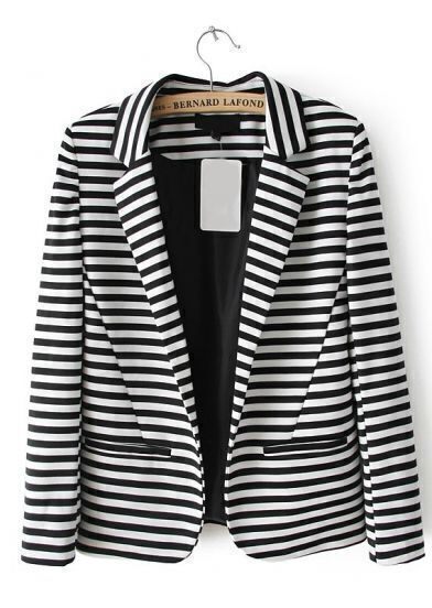 Black White Striped Notch Lapel Pockets Blazer