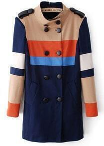 Navy Long Sleeve Epaulet Double Breasted Trench Coat