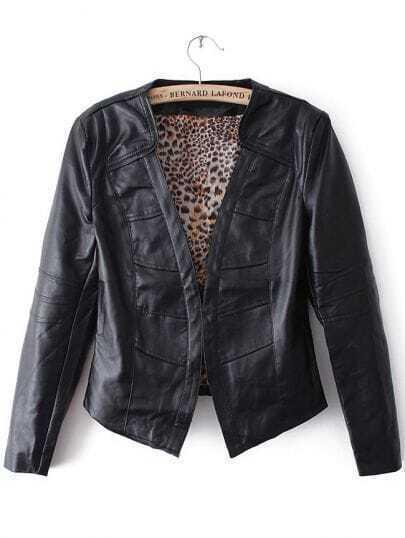 Black Long Sleeve Leopard Lining PU Leather Jacket