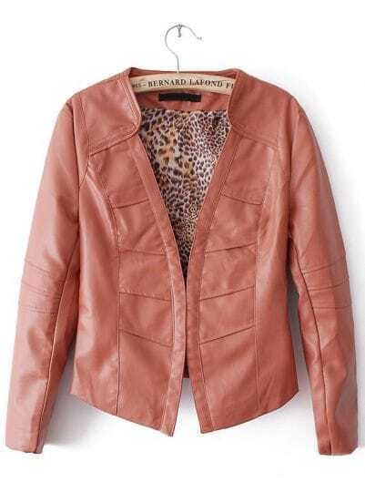 Red Long Sleeve Leopard Lining PU Leather Jacket