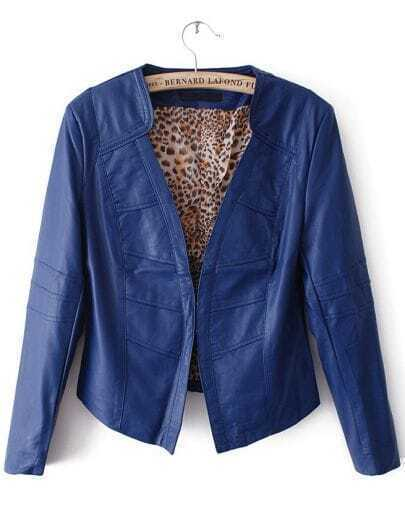 Blue Long Sleeve Leopard Lining PU Leather Jacket