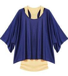 Navy Batwing Short Sleeve Loose Two Pieces T-Shirt