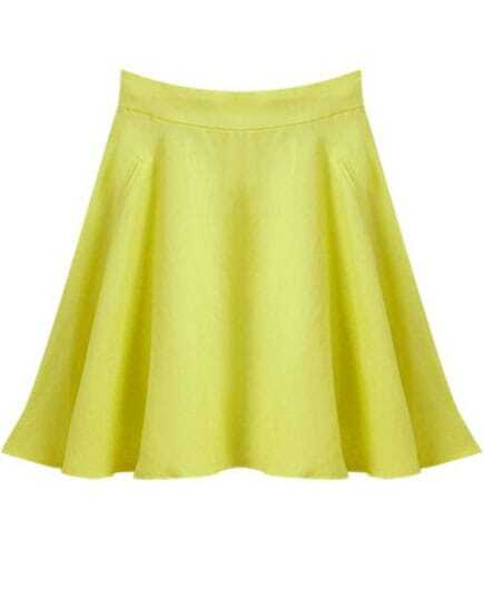 Yellow High Waist Flare Skirt -SheIn(Sheinside)