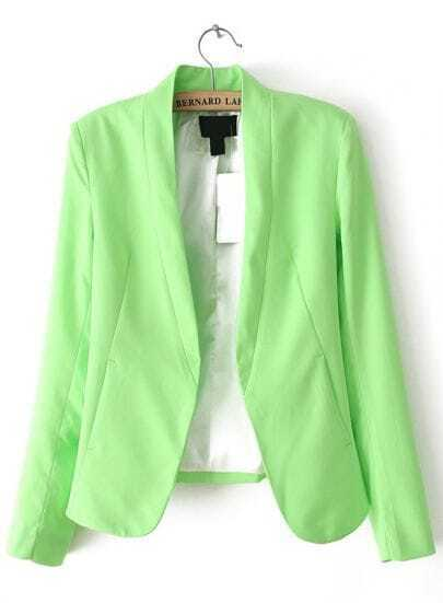 Green Fashion Long Sleeve Pockets Blazer