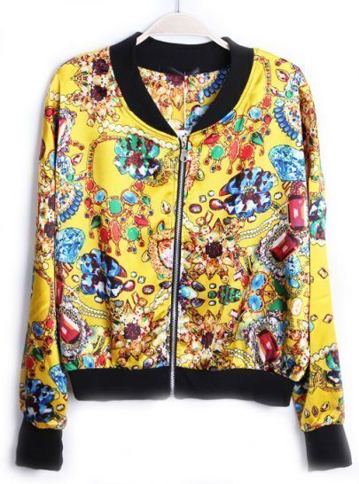 Yellow Long Sleeve Zipper Gemstone Print Jacket